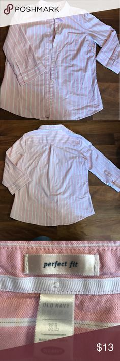 Old navy pink striped button up size XL Old navy perfect fit pink with white stripes. Size XL. It has quarter length sleeves Old Navy Tops Button Down Shirts