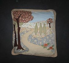 Vintage Cushion. Applique Liberty Prints Country Scene. Hand-Made. Tiny A/F