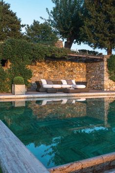 Limestone Surround and Herringbone Bottom, such a Handsome Pool in Santa Barbara, Ca.: