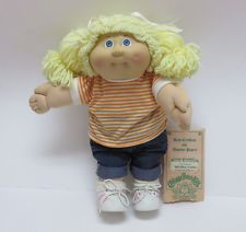 Vintage 1984 Cabbage Patch Kids Girl Doll w/ Adoption Papers Blonde / Blue XLNT