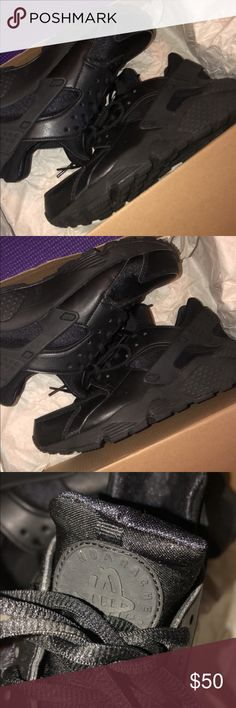 premium selection fc6d3 214df Nike Huaraches Run (GS) Black running shoe with tie up laces. Never worn