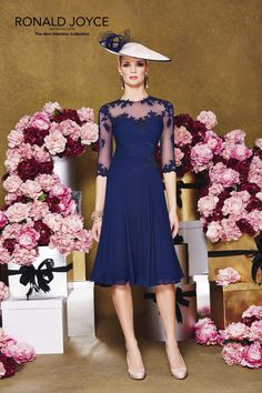 2015 Mother's Wedding Dresses Ronald Joyce Sheer Neck Appliqued Navy Blue Chiffon A-Line The Mother of the Bride Gowns for Party Half Seeves from Nicedressonline,$142.41 | DHgate.com