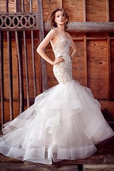 Wedding gown by Lazaro.Check out more gorgeous dresses in our Lazaro gown gallery ►