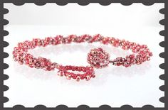 Red Multicolored Twisted Handmade Bracelet Toggle Clasp 7.5 inches