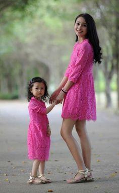 Mommy and Me Hot Pink Lace Matching Dress – TrendyKidzBoutike