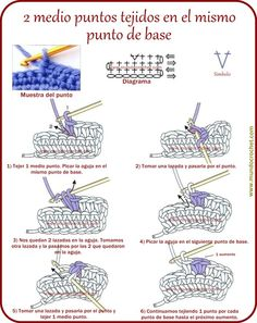 2 medio puntos tejidos en el mismo punto de base Crochet Bikini Pattern, Crochet Diagram, Basic Crochet Stitches, Crochet Motif, Crochet Cord, Easy Crochet, Magic Circle Crochet, Crochet Hooded Scarf, Knitting Patterns