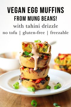 These vegan egg muffins are gluten-free and ready in 20 mins without chickpeas or tofu! They can be customized with your favorite veggies. Healthy Vegan Breakfast, Healthy Vegan Snacks, Savory Snacks, Quick Snacks, Healthy Recipes, Vegan Dinner Recipes, Vegan Dinners, Egg Recipes, Brunch Recipes