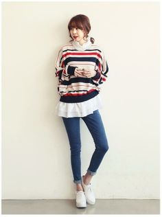 #RuffleHem NANING9 - Striped Ruffle-Hem Pullover