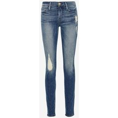 FRAME Le Skinny De Jeanne: Granville ($230) ❤ liked on Polyvore featuring jeans, pants, denim, skinny fit jeans, super skinny jeans, blue skinny jeans, frame denim and 5 pocket jeans
