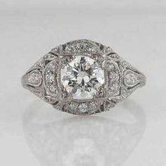 Antique Platinum Art Deco Diamond Engagement Ring Round - eBay