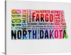 Naxart 'North Dakota Watercolor Word Cloud' Textual Art on Wrapped Canvas Size: Watercolor Typography, Typography Art, Wall Art Prints, Framed Prints, Canvas Prints, Word Cloud Art, Word Clouds, Canvas Fabric, Canvas Art