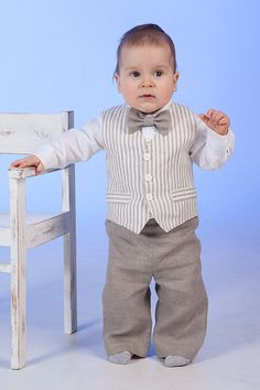 Boy natural linen baptism suit baby boy clothes ring by Graccia, $125.00