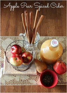 Share the Season: Apple Pear Spice Cider Recipe Fun Drinks, Yummy Drinks, Yummy Food, Beverages, Spiced Cider, Pear Cider, Fall Recipes, Holiday Recipes, Smoothies