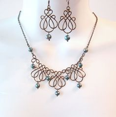 Bronze Wire Work Necklace Set - Teal Freshwater Pearls - Wire Necklace - Wire Jewelry -  Wire Wrapped
