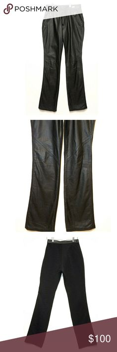 """Harley Davidson High Waisted Leather Front Pants Excellent pre-owned condition. Straight leg. High waisted. Leather front with black stretchy material in back. Approximate measurements laying flat: inseam 33"""", FR 10.5"""", BR 14"""", waist 27"""", hips 19"""" measured across bottom of front pockets. Diagonal zipper pockets in front. Harley Davidson Pants Track Pants & Joggers"""