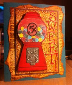 Sizzix Gumball Machine and Wingo Zingo alphabet dies with Tim Holtz embossing folder and Impression Obsession's Newsprint stamp