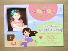 Custom Mermaid Birthday Invitation  Digital by SquigglesDesigns, $10.00