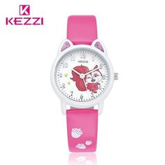 ee9d5f16f71a KEZZI child Watches Girl Leather Printing Strap Cartoon Kids Watch Students  Quartz Wristwatch Casual Fashion Horloge Gift Clock