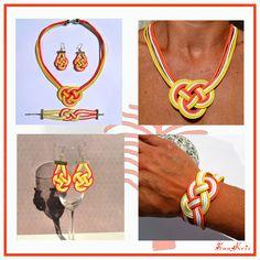 Parure en coton ciré noeud marin Blanc Jaune Orange, bracelet celtique,  collier marin, boucles d\u0027oreilles esprit