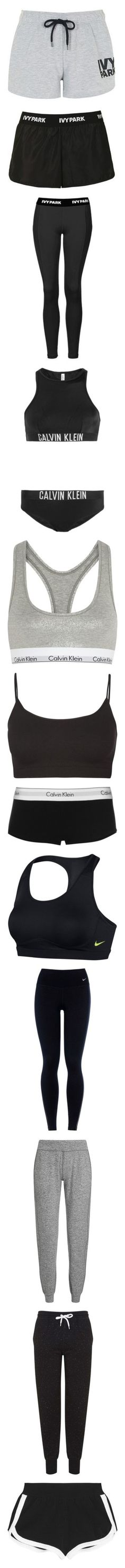 """""""Sport"""" by wieldy ❤ liked on Polyvore featuring activewear, activewear shorts, bottoms, shorts, pants, light grey m, topshop, logo sportswear, black and leggings"""