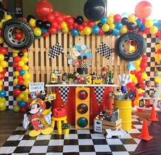 Mickey and the Roadster Racers! Transportation Birthday, Race Car Birthday, Cars Birthday Parties, 4th Birthday, Birthday Ideas, Fiesta Mickey Mouse, Mickey Party, Mickey Mouse First Birthday, Instagram