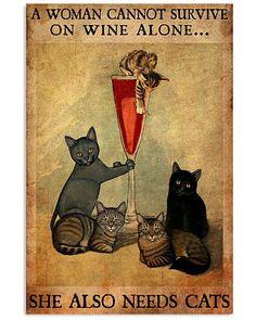 Funny Cute Cats, Cool Cats, Cute Dogs, Crazy Cat Lady, Crazy Cats, Art Quotes Funny, Cat Posters, Unique Cats, Cat Cards