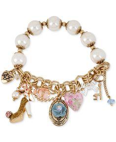 Betsey Johnson Gold-Tone Oval Flower Charm Stretch Bracelet - Jewelry & Watches - Macy's