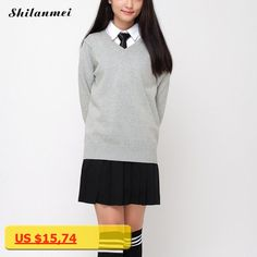 Spring Japanese Style Female Long Sleeve V-neck Sweaters Students School Uniforms Girl Women Single Breasted pullovers