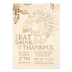 Modern Turkey Thanksgiving Day Dinner Invitation