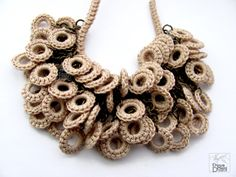 Handmade statement crochet necklace with natural cream beige cotton,bridal, wedding, fiber jewelry, bohemian, earth colors, romantic summer