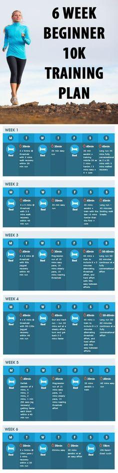 6 WEEK BEGINNER 10K TRAINING PLAN. #running #runningplan #beginnerrunningplan #10k
