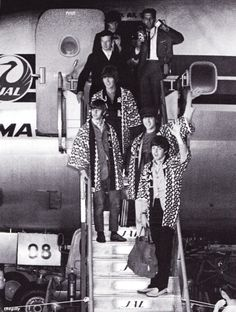 The Beatles arriving at Haneda Airport, Japan, at 3.40 in the morning of 30 June 1966