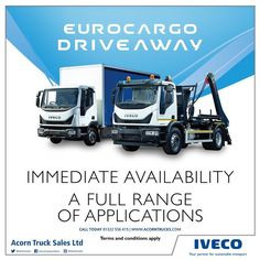 """""""New Eurocargo, Ready for you to driveaway. Call today for more information. Sustainable Transport, Commercial Vehicle, Acorn, Truck Parts, Online Marketing, Online Business, Transportation, How To Find Out, How To Apply"""