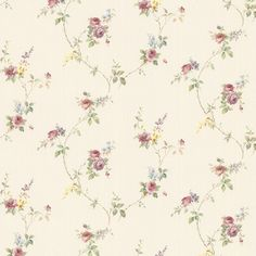 Norwall Wallcoverings Inc Floral Prints II x Laura's Trail Wallpaper Color: Pink / Purple / Green / Blue / Brown Textured Wallpaper, Wallpaper Roll, Pattern Wallpaper, Wallpaper Paste, Green Rose, Pink And Green, Rose Vines, Botanical Wallpaper, Purple Roses