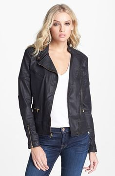 coated denim moto jacket  - great for fall and spring!!