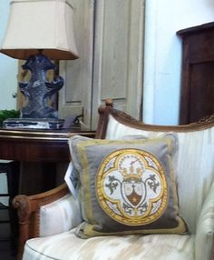 Antique French Shield on Taupe velvet Florida Home, Wingback Chair, French Antiques, Decorative Pillows, Taupe, Accent Chairs, Cushions, Velvet, Interiors