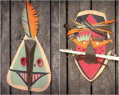 mascaras tribales para disfraces originales caseros y divertidos para halloween Máscaras tribales hechas para reciclar papel