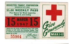 TRANSIT TICKET Pass Rochester New York March 15, 1947 Red Cross Give Generously | eBay