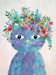 CAT WITH FLOWERS ON THE HEAD by Mia Charro