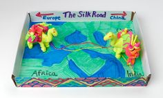 Invite your students to trace the Silk Road with traders and their camels. Imagine traveling across the treacherous mountains, deserts, and steppes, yesterday and today. History Lesson Plans, History Class, 6th Grade Social Studies, Teaching Social Studies, School Projects, Projects For Kids, School Ideas, Project Ideas, Silk Road Map