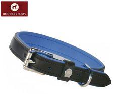 Klassisches Halsband Otto Schumacher  Stilvoll in Schwarz mit einer edlen Polsterung in verführerischem Sapphire präsentiert sich das klassische Halsband Otto Schumacher. Die Sattlerei verwendet nur vegetabil gegerbtes Leder, enthält keine Schadstoffe wie PCP und PPC.