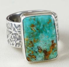 Item Women's Navajo Rectangle Royston Turquoise Textured Sterling Silver Band Ring by E&M Teller sz 7 —Women's Native American Turquoise Rings # Sea Glass Jewelry, Jewelry Rings, Silver Jewelry, Silver Rings, Diamond Jewelry, Jewelry Ads, Snake Jewelry, Navajo Jewelry, Indian Jewelry