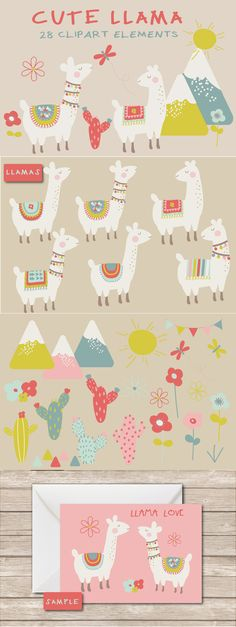 Cute llama clipart - A really cute llama clipart set, created using a fun colour palette. Pack includes, llamas,cactus, flowers, bunting , butterflies and more. Perfect for party invites, scrapbooking, greetings cards and all your llama themed crafts.