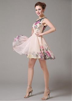 6c4929217 In Stock Elegant Printed Chiffon One-shoulder A-line Floral Cocktail Dress  Formal Dresses