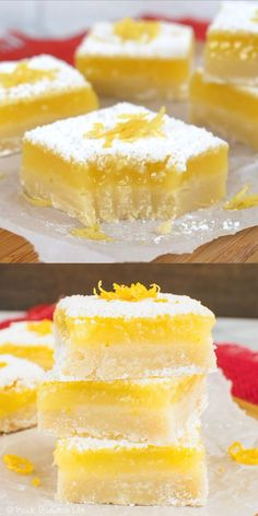 The sweet shortbread cookie crust and the tart lemon filling make the best lemon bars around! The sweet shortbread cookie crust and the tart lemon filling make the best lemon bars around! Lemon Dessert Recipes, Lemon Recipes, Desert Recipes, Easy Desserts, Sweet Recipes, Baking Recipes, Cookie Recipes, Delicious Desserts, Yummy Food