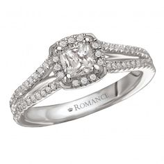 Halo Complete Diamond Ring $4,718 Style: 118198-050C 14kt White Gold Micro Set Round Diamond Ring with a Split Shank and Cushion Style Halo. (D.3/4 carat total weight includes D1/2 carat cushion center stone)