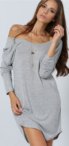 Go breezy and still look sexy with this long sleeve shift dress in grey. The front comes with a wide v-cut neckline that stretches to a v-cut open back, then its bodice is finished off with a boy cut hemline.