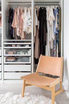 Living: Mastering Minimalism in 800 Sq Ft walk-in closet created with a PAX wardrobe!walk-in closet created with a PAX wardrobe! Modular Closet Systems, Ikea Closet System, Modular Closets, Ikea Pax Closet, Closet Drawers, Closet Bedroom, Closet Space, Spare Room Walk In Closet, Bedroom Chair