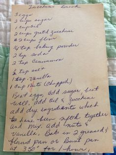 Homemade Zucchini Bread -- vintage recipe