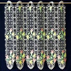 Macrame Lace Cafe Curtains Lace Valances, Macrame Curtain, Lacemaking, Cafe Curtains, French Lace, Floral, Flowers, Flower